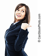 Businesswoman pointing and looking over shoulder isolated on...