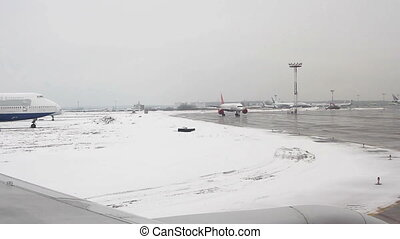 View from airplane to the Domodedovo airport - View from...