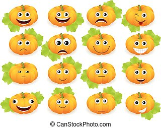 emoticon pumpkin - Vector pumpkin faces or emoticons...