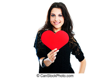 Young woman with red heart