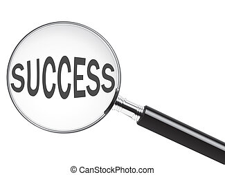 Success text under magnifying glass. Concept for focus on...