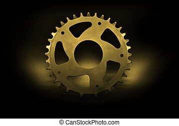Golden Bicycle chainring - Golden bicycle chainring on a...