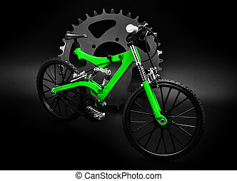 Miniature bike - Miniature mountain bike and chainring