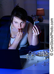 Contemporary addiction of youth - Modern teenager addicted...