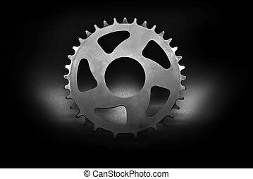 Silver Bicycle chainring - Silver bicycle chainring on a...