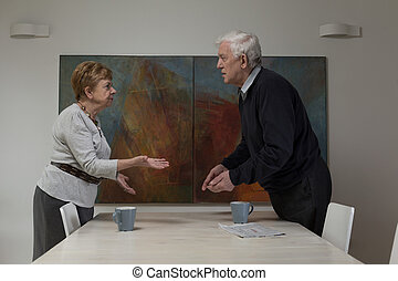 Woman and man quarreling - Experienced marriage cannot reach...