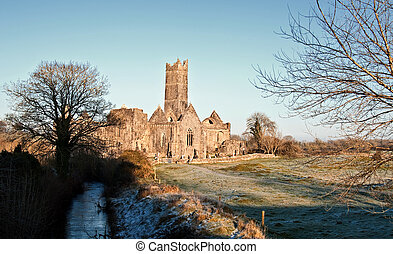 rural ancient abbey, tourist attraction, west ireland -...