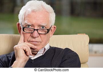anziano, intelligente, uomo