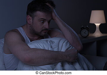 Man overwhelmed with stress - Horizontal photo of a man too...