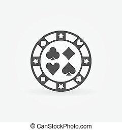 Casino chip vector icon - Casino chip icon - vector black...