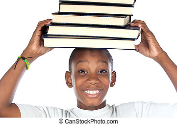 child with books in the head