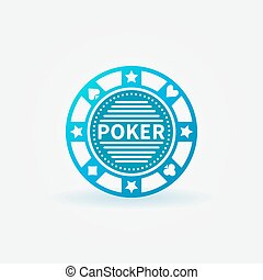 Poker chip blue vector icon - Blue poker chip vector icon or...