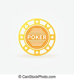 Poker chip gold vector icon - Poker chip vector gold sign or...