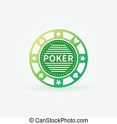 Poker chip green vector icon or logo