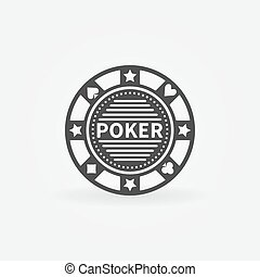 Poker chip vector icon or black logo