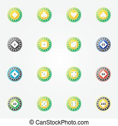 Poker chips vector bright icons - Poker chips icons - vector...