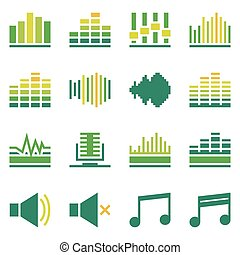 Sound or music soundwave flat green icons - Music icons flat...
