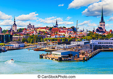 Tallinn, Estonia - Scenic summer view of the Old Town and...