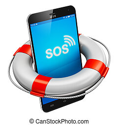 Smartphone and lifesaver buoy - Creative abstract mobile...