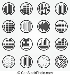 Soundwave or equalizer round icons set - vector black sound...