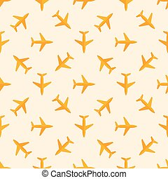 Vector airplane seamless pattern