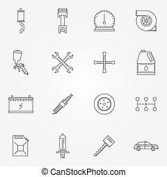 Auto service or repair icons - car line symbols