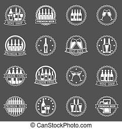 Beer and wine labels vector set - Beer and wine labels set -...