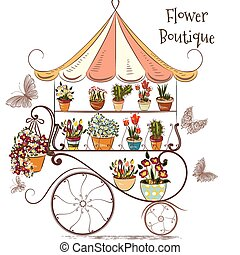 Cute illustration with flower shop or boutique fully of...