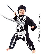 Boy in halloween - Adorable boy in halloween a over white...