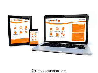 responsive design e-learning platform concept - render of an...