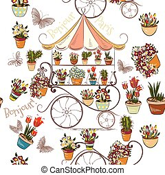 Seamless pattern with flower shop or boutique fully of...