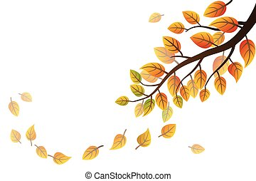 Autumn frond - Autumn branch with falling leaves on white...