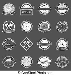 Sawmill badges or emblems - vector collection of white...