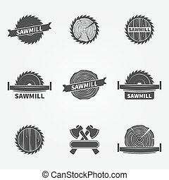 Sawmill logo or label - vector set of dark carpentry symbols...