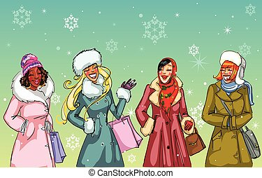 Happy women talking to each other, Christmas shopping vector...
