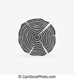 Wood icon or sawmill logo - black vector tree growth rings...