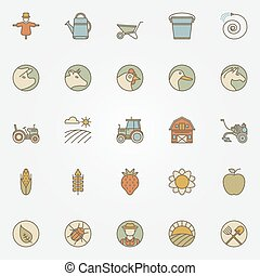 Agriculture icons collection - vector colorful set of farm...
