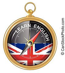 Learn English as concept - Compass and an arrow pointing to...