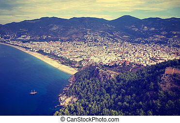 Alanya, Turkey. - Vintage photo of Alanya, Turkey. View of...