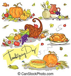 Thanksgiving day hand drawn collection Clip-art set