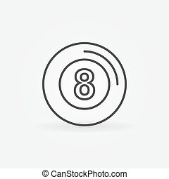Eight ball icon or logo - vector billiards symbol in thin...