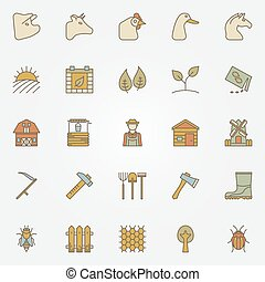 Farm colorful icons collection