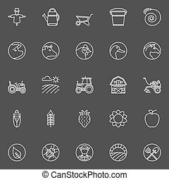 Farm icons collection - Farm icons - vector set of white...