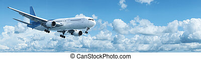 Jet plane in a blue cloudy sky. Panoramic shot.