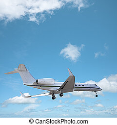 Private jet in a sky is maneuvering for landing. Square...