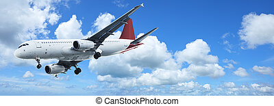 Jet plane in a blue sky. Panoramic composition.