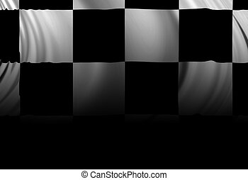 Checkered flag waving in the wind with some shades in it
