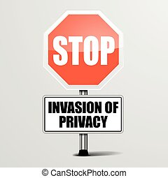 Stop Invasion of Privacy - detailed illustration of a red...