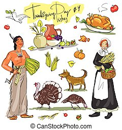 Thanksgiving day hand drawn collection. Set 4. -...