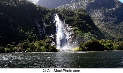 Milford Sound NZ 15 - Spectacular waterfall in Milford Sound...